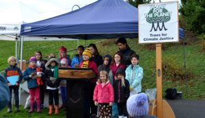 Athena Fain, 2017 President of the Seattle Chapter of Plant for the Planet was the Emcee for the Planting Ceremony